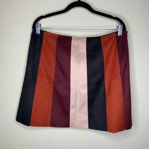 NWT Forever21 Faux Suede Colorblock Skirt 0X